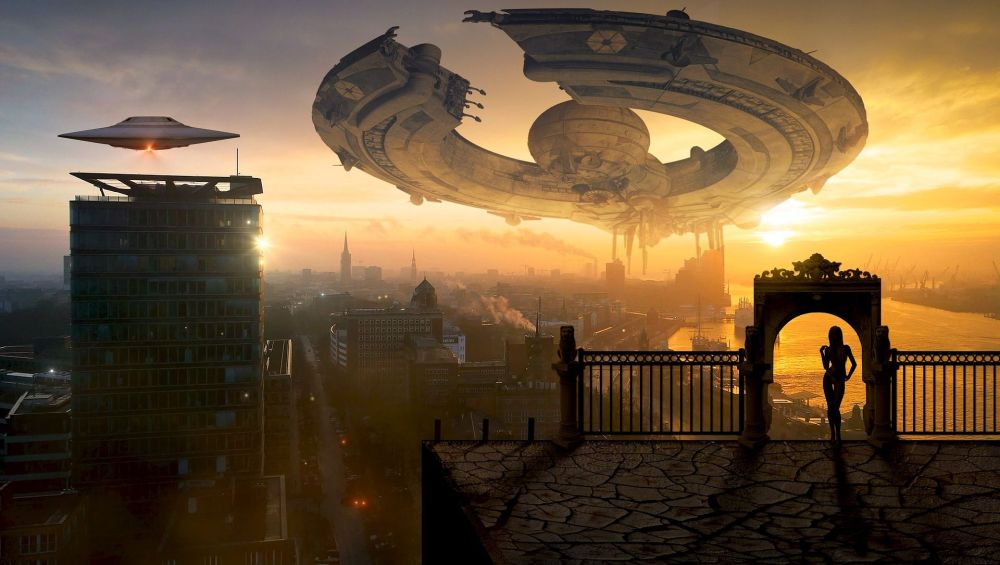 Flying saucers over a city