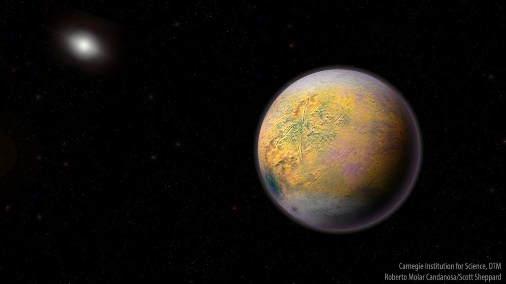 The dwarf planet Goblin seen in an artist's conception