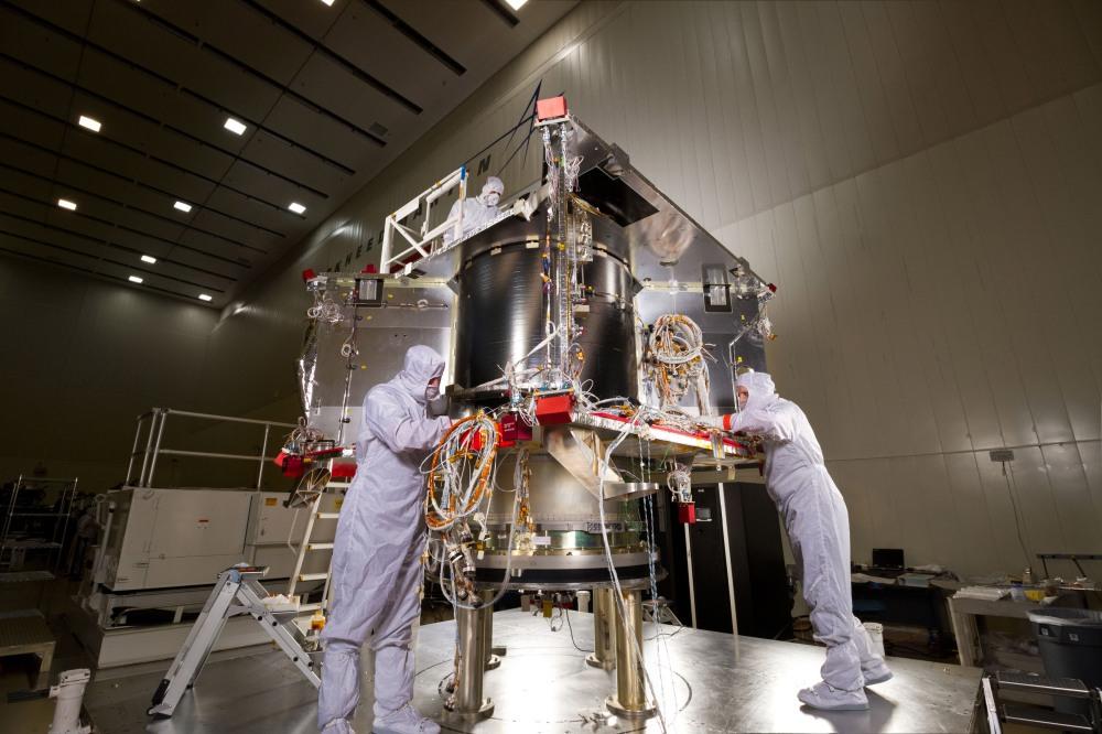 OSIRIS-REx being assembled in 2015.