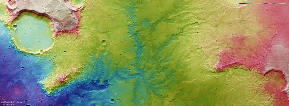 Mars river valley topographic