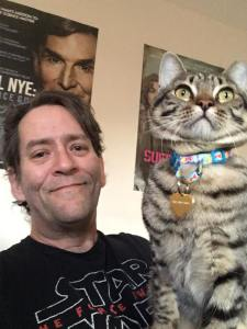 The author hanging out with Max the cat.