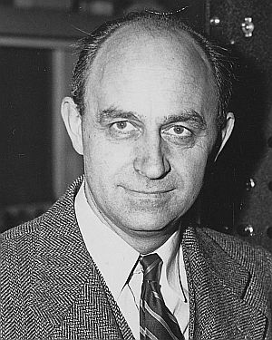 Enrico Fermi, seen in a black and white image.