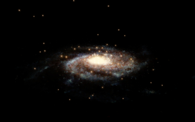 Globular clusters surrounding the Milky Way (artist's impressi
