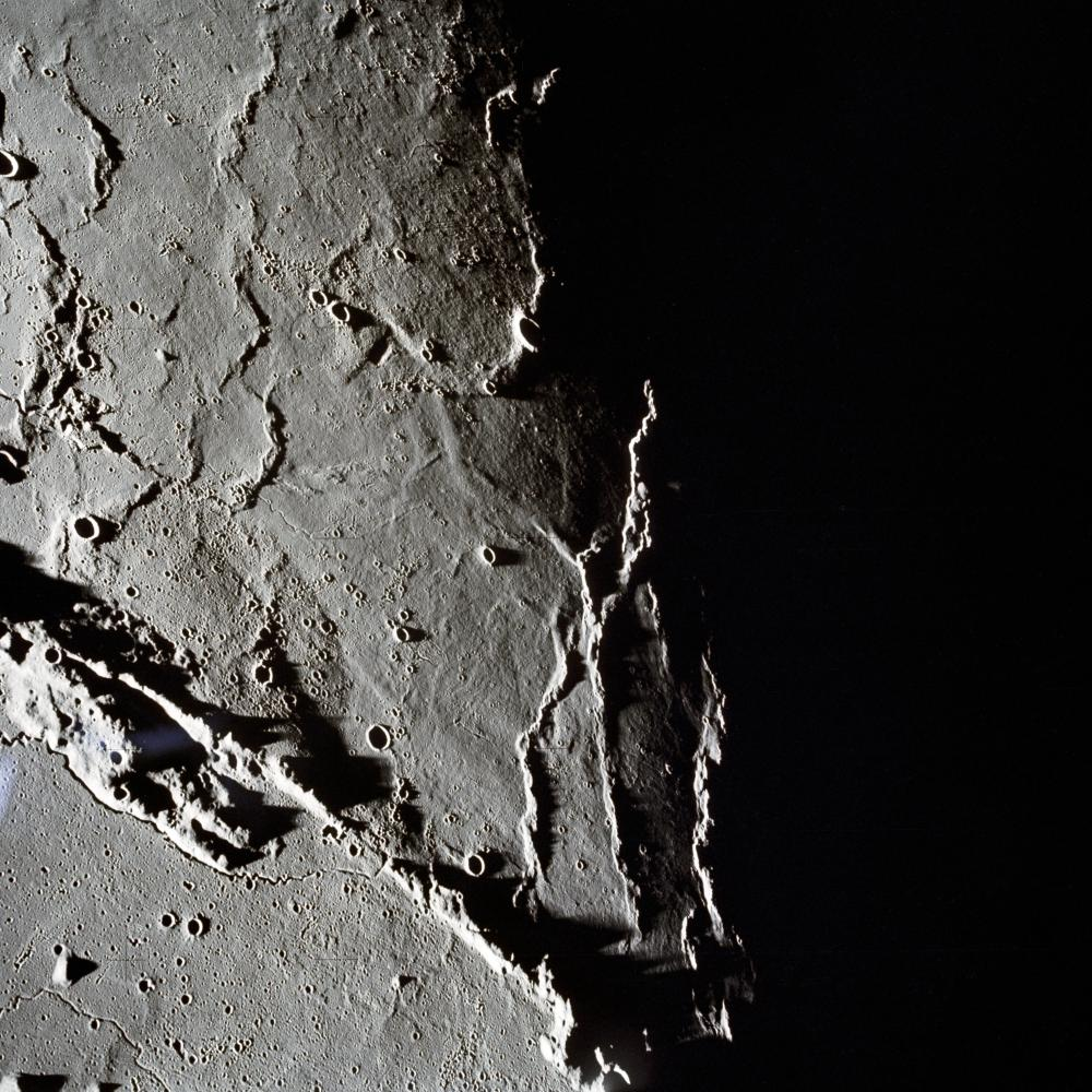 Mountains on the lunar surface, imaged by the astronauts of Apollo 15.