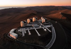Aerial sunset over Paranal