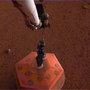 The SEIS seismometer being deployed on Mars.