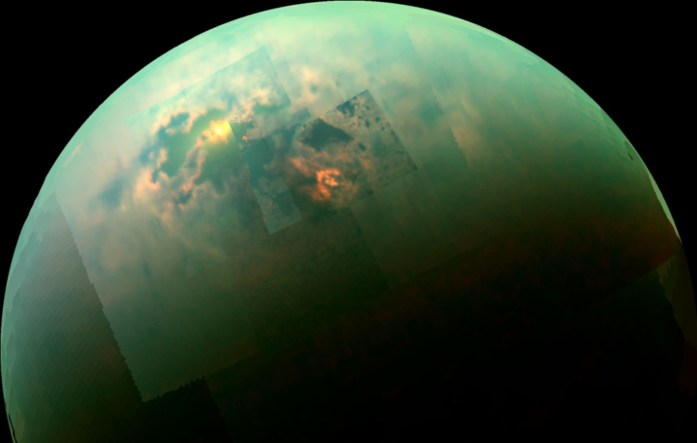 The northern seas of Titan, seen in near-infrared light.